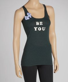 Take a look at this Green & Silver 'Be You' Racerback Tank - Women by max & lilly tees on #zulily today!