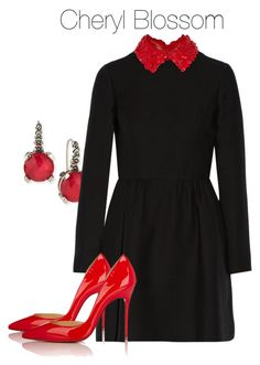 A fashion look from October 2017 featuring valentino dress, d'orsay pumps and engraved jewellery. Browse and shop related looks. Moda Polyvore, Stylish Outfits, Cute Outfits, Cheryl Blossom Riverdale, Riverdale Fashion, Work Fashion, Pretty Dresses, Polyvore Fashion, Girl Outfits