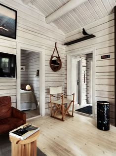 Charming Norwegian-style Log Cabin Packed with Iconic Design Pieces - Nordic Design White Cabin, Norwegian House, Cabin Interiors, Interior, Cabin Decor, Cabin Homes, Modern Log Cabins, My Scandinavian Home, Scandinavian Cottage