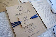 Wedding Invitations - Rustic No. Kraft Card, Ribbon embellishment and swing tag. Vintage Wedding Invitations, Wedding Invitation Templates, Wedding Stationery, Paper Store, Swing Tags, Kraft Envelopes, Paper Goods, Our Wedding, Ribbon