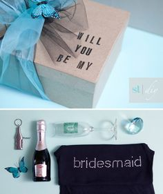 For the Bridesmaids - a cute gift and way to ask them to be your bridesmaid - include a mini bottle of champagne, a bridesmaid tshirt and other cute simple trinkets. Place it all in a gift box and wrap it in a big bow