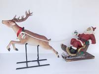 SANTA ON SLEIGH WITH REINDEER CHRISTMAS DECOR STATUE