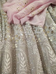 A Semi stitched grey anarkali with chikan embroidery embellished with ring mukaish work. The front and back of anarkali have same work all over. Pakistani Dress Design, Pakistani Outfits, Indian Outfits, Indian Attire, Indian Wear, Indian Style, Sonakshi Sinha, Deepika Padukone, Embroidery Suits Punjabi