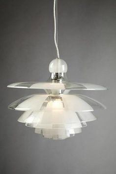 """Poul Henningsen - Ceiling lamp """"Septima 5"""", 1929.  Frosted and clear glass with nickel plated FITTINGS."""