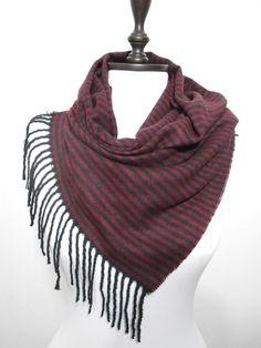 Fall Winter Scarf Striped Burgundy Black Scarf Shawl SCARFCLUB