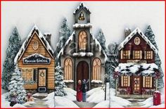 le-village-de-noel-#1-chantal-mainguy Market Stands, Notre Dame, Creations, Cabin, House Styles, Building, Home Decor, Mesas, Painting On Wood