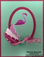 """Handmade card using Stampin' Up! products - Flamingo Lingo Set (the Ronald McDonald House Charities Set), Four Feathers Set, Ovals Collection Framelits, Feathers Framelits, Bitty Banners Framelits, Stampin' Emboss Powder, Very Vintage Designer Buttons, 1/8"""" Taffeta Ribbon, 1/4"""" Cotton Ribbon, and Blendabilities Markers.  By Michele Reynolds, Inspiration Ink, http://inspirationink.typepad.com/inspiration-ink/2014/09/flamingo-lingo-colored-heat-embossed-flamingo.html."""