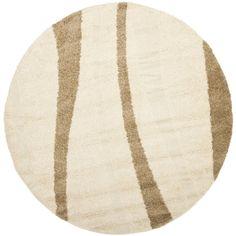 Safavieh Florida Shag Assa Stripe Rug x Round - Cream/Dark Brown), Ivory/Dark Brown