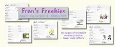 Beginning Cursive 1: ABeka font free printables