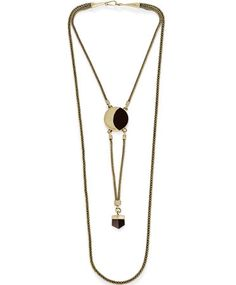 MANIAMANIA Umbra Brass Double Necklace