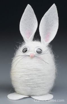 How cute is this? Kids can make this little Yarn Bunny, too. CraftsnCoffee.com.