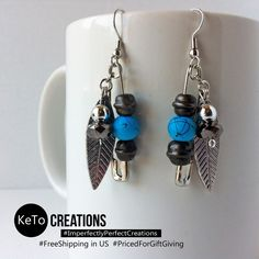 """""""Pins of Durango"""" by KeTo Creations #HandCrafted #Earrings #GiftsForHer #Feathers #Turquoise #ImperfectlyPerfectCreations #FreeShipping in the US #PricedForGiftGiving #JustOpenedOurStore #ShopLikeWeHave5StarRating #WeShipASAP #PinNowViewLater"""