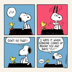 Snoopy and Woodstock. Snoopy is startled by Woodstock!