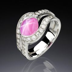 Star sapphire rose ring