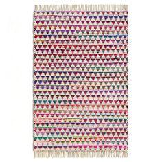 Tapis Armonia AM.PM : franges de chaque côtés.Composition :- Tapis en coton recyclé. Tissé main- Poids : 2000 g/m²  120 cm x 180 cm
