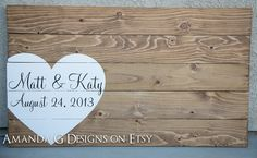 Personalized wood sign Wedding guest book by AmandaGdesigns, $75.00 I love this idea for a guest book!