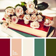 болотный, бордовый, винтажные цвета, изумрудный, нежный персиковый цвет, оттенки кремового, оттенки цвета персик, персиковый цвет, темно-бордовый, тёмно-зелёный, цвет красного бархата, цвет чайной розы, цвета винтажа.