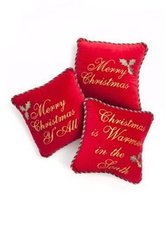 Home Accents  Holiday Velvet Word Decorative Pillows