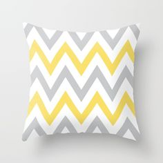 Gray & Yellow Chevron Throw Pillow by Dani. Worldwide shipping available at Society6.com. Just one of millions of high quality products available.