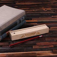 Pencil Box Case and Ruler Personalized Wood Engraved and Monogrammed for Boys and Girls Kids Gift (024178)