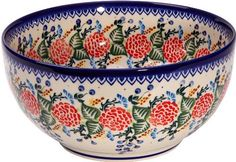 Polish Pottery Ceramika Boleslawiec Royal Blue Patterns with Red Rose Motif Bowl, 10 Cup by Lidia's Polish Pottery, Inc.