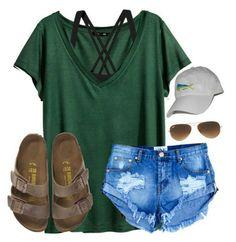 Adventures of the outdoors. Green tee, scrappy bra, cap, shades, denim shorts, & slip on sandals