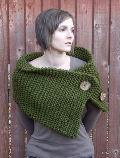 This is really cool....chunky button cowl shawl neck warmer  cilantro  the by EStarKnits, $70.00