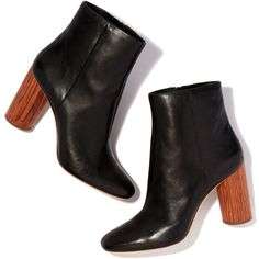 Wilder Bootie ❤ liked on Polyvore featuring shoes, boots, ankle booties, black booties, wooden heel boots, black ankle booties, short boots and side zip boots