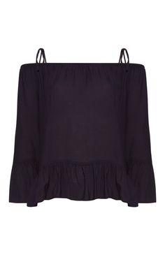 Primark - Zwart topje met open schouders