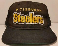 68c7bab553d Pittsburgh Steelers Vintage Snapback Starter Hat NFL Plain Logo Script  Block Cap Pittsburgh Steelers