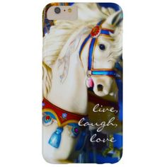 Live Laugh Love Quote White Carousel Horse Photo Barely There iPhone 6 Plus Case - horse animal horses riding freedom