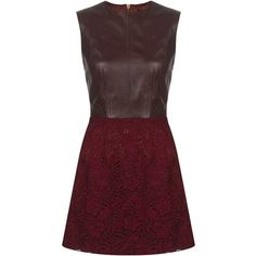 Zoë Jordan Margaret Leather & Lace Dress ❤ liked on Polyvore