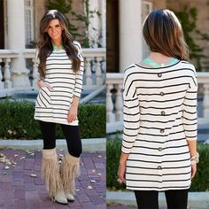 This Button Back Tunic is PERFECT to wear over leggings with boots for a fab look! It has a classy style while being super comfortable!|- Spring Summer Fall Winter Fashion www.psiloveyoumoreboutique.com