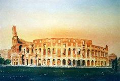 Watercolour Painting of the Colosseum by Alan Reed. I painted several watercolours of Rome on location before embarking on this studio production bathed in the last rays of October sunlight.  This landmark remains an iconic symbol of Imperial Rome.
