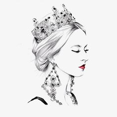 Fashion illustration girl PNG and Clipart Queen Drawing, Crown Drawing, Jewelry Illustration, Illustration Mode, Drawing Sketches, Art Drawings, Crown Art, Jewellery Sketches, Beauty Art