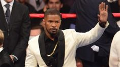 Jamie Foxx prepares to sing the national anthem before the Mayweather-Pacquiao fight Saturday night.