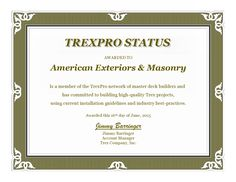 American Exteriors & Masonry is a TREXPRO Certified Contractor located in Leesburg, Virginia. Serving Loudoun and Fairfax Counties.
