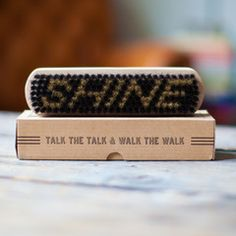 """""""Talk the talk & walk the walk"""" - Every gentleman needs a polished pair of shoes and our shoe brush is made for the job. At izola.com"""