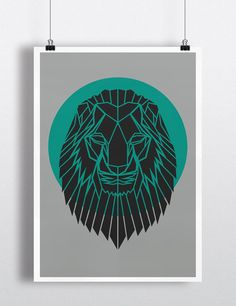 Geometric Lion Head Print Contemporary Lion by PrintsbyStencilize, €10.00
