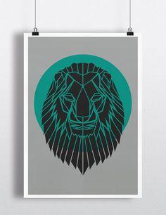 Geometric Lion Head Print Contemporary Lion by PrintsbyStencilize, €10.00