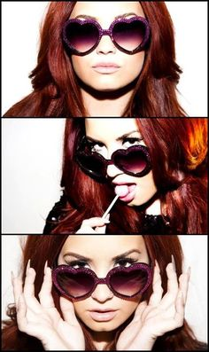 Tyler Shields Photography. Demi Lovato wearing oversized heart shaped sunglasses