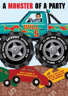 monster truck party printable  kids    trucks party, party invitations