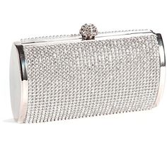 Silver Crystal Diamante Effect Evening Clutch Wedding Purse Party Prom... ❤ liked on Polyvore featuring bags, handbags, clutches, silver clutches, silver handbag, party clutches, prom clutches and prom purse