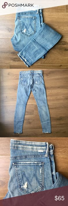 MOTHER skinny jeans - Skinny jeans - button closure & zip fly - Fabric: Stretch denim. - 98% cotton/2% elastane. - Shredded holes - small, faint stain on back pocket - The Looker faded wash - Graffiti Girl cut  Rise: 8in / 20cm Inseam: 31in / 78.5cm Leg opening: 10in / 25.5cm MOTHER Jeans Skinny