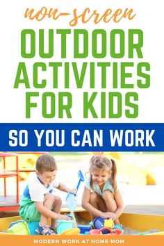 Looking for some new summer play ideas for the kids? These backyard activities for kids are fun and exciting play ideas to do in the backyard. How to create a summer outside station for your kids while you work! Looking for summer ideas for kids? Check out these ideas to create a small sandbox, water activities for kids, water activities for toddlers, toddler activities inside while you work from home. #athome #workwithkids #workathome #summer via @themodernwahm Educational Activities For Toddlers, Activities For 2 Year Olds, Outdoor Activities For Kids, Fun Games For Kids, Summer Activities For Kids, Water Activities, Hands On Activities, Learning Activities, Outdoor Learning