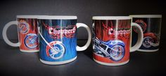 4 Motorcycle Bike Orange County Choppers Club BLUE RED Coffee Tea Cup Mug 2004  #OrangeCountyChoppers