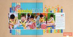 Scrapbook pages, cards, embellishments and more featuring Scrapbook Generation's exclusive sketches. Scrapbooking Layouts, Digital Scrapbooking, Birthday Scrapbook Pages, Scrapbook Generation, Happy Thanksgiving, Presents, Paper Crafts, How To Get, Let It Be