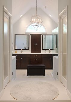 Modern Master modern bathroom client: dual sink divided by storage unit on top and how about a deep pull-out or hinged built-in hamper below?