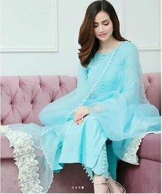 Simple Pakistani Dresses, Pakistani Fashion Casual, Pakistani Dress Design, Stylish Dress Designs, Stylish Dresses, Simple Dresses, Fashion Dresses, Sky Blue Suit, Kurta Designs Women