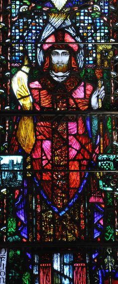 St Finnbarr window in the Honan Chapel,UCC,Cork, designed by Harry Clarke, and produced in his studio